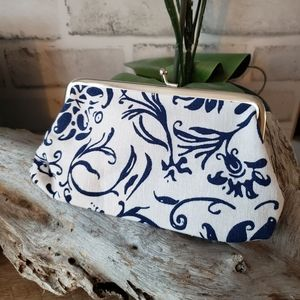 White and blue coin purse wallet with snap closure